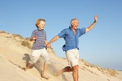 Grootvader en Kleinzoon die van Strand genieten Stock Fotografie