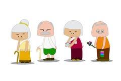 Grootvader en Omaslijtage Thaise kleding Het gaan verdienste aan de tempel maken concept geplaatst activiteiten bejaarde mensen Stock Foto