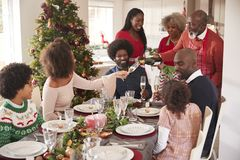 Grootvader gietende champagne bij de dinerlijst tijdens een multigeneratie, gemengde Kerstmisviering van de rasfamilie stock afbeelding