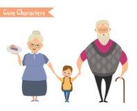 Grootvader, grootmoeder en kleinzoon samen Royalty-vrije Stock Foto