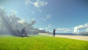Grootvader het rusten en weinig jongen met vliegtuig die, tropisch eiland, ochtendmist lopen vector illustratie