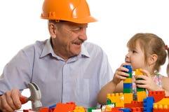 Grootvader met de kleindochter Stock Foto