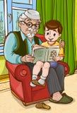 Grootvader met kleinzoon vector illustratie