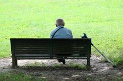 Grootvader in park Stock Foto