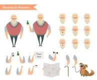 Grootvaderkarakter voor scènes Stock Foto's