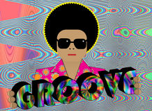 Groove. Illustration of retro funky character with GROOVE lettering Royalty Free Stock Image