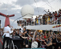 Groove Cruise Wedding. This is a sunrise wedding off a Carnival cruise ship during the 2017 Groove Cruise Music Festival. Friends and strangers gathered to stock images