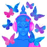 Groove. Modern Buddha listening to the music in headphones surrounded by butterflies isolated on white. Vector illustration. Acid vector illustration