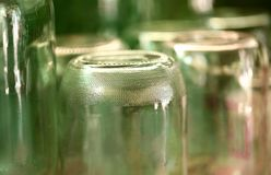 Grooved bottom of glass jar. Stock Images