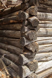Grooved logs. Interlocking grooved logs detail old home Royalty Free Stock Photos
