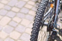 Free Grooved Tire On A Mountain Bike Wheel On A Sunny Day Royalty Free Stock Photography - 117955867