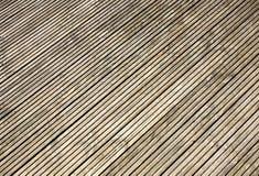 Grooved wooden garden decking. Grooved wooden garden decking close up Stock Images