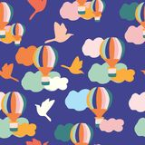 Groovy balloons and birds, in a seamless pattern design vector illustration