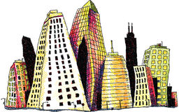 Groovy Buildings. Illustration of groovy downtown buildings in a city Stock Photos