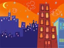 groovy byggnadstecknad film stock illustrationer