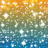 Groovy festive background with shining stars. And bokeh effect royalty free illustration