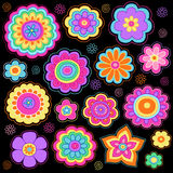 Groovy Flowers Psychedelic Doodles Vector Set. Flower Power Groovy Psychedelic Hand Drawn Notebook Doodle Design Elements Set on Lined Sketchbook Paper Stock Images