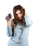 Groovy girl listening to music Stock Images