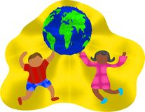 Groovy Globe. Kids holding globe vector illustration