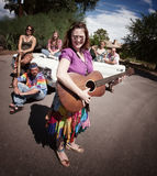 Groovy group with female Singer Royalty Free Stock Images