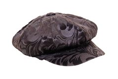 Groovy hat. Brown hat with large bill with groovy swirls and designs - path included Stock Photography
