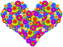 Groovy Heart. Retro Heart Made Of Multicolored Circles Isolated On White Stock Images