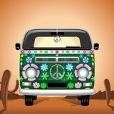 Hippie Groovy Van Traveling on Hot Desert Vector illustration. Groovy Hippie Colorful Bus / Van, painted with Flowers and Peace Symbol, the Retro Symbolic `Peace stock illustration