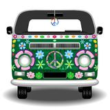Hippie Groovy Van Bus Peace and Love Retro Vehicle Vector Illustration. Groovy Hippie Colorful Van, painted with Flowers and Peace Symbol, the Retro `Peace and stock illustration