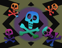 Groovy Jolly Roger. Green and black background with a hard edged zig zag pattern. Layered above are skulls and Royalty Free Stock Images