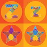 Groovy lines ALPHABETS quads Stock Photos