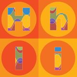 Groovy lines ALPHABETS quads Stock Images