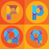 Groovy lines ALPHABETS quads Royalty Free Stock Photography