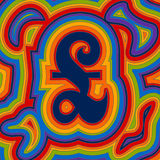 Groovy Money - Rainbow Sterling. A groovy British pound sign with psychedelic offset swirls in rainbow colours stock illustration
