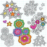 Groovy Notebook Doodle Design Elements Vector. Groovy Notebook Doodles Design Elements with Stars, Flowers, and Swirls Vector Illustration on Lined Paper Royalty Free Stock Photos