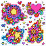 Groovy Notebook Doodle Frames Vector Designs. Groovy Psychedelic Doodles Hand Drawn Notebook Doodle Design Elements on Lined Sketchbook Paper Background- Vector Stock Photo