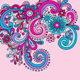 Groovy Psychedelic Doodles. Groovy Hand-drawn Psychedelic Doodle with Flowers and Swirls Vector Illustration stock illustration