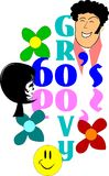 Groovy sixties. Background concept of sixties era on white with flowers and smiley Stock Photography