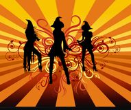 Groovy Witches. Three sexy witches dancing on a retro background with orange and red scroll design Stock Photo