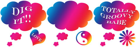 Groovy Words Thought Bubbles (isolated). Rainbow thought bubble with groovy words vector illustration