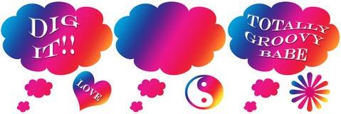Groovy Wort-Gedanken-Luftblasen (getrennt) Lizenzfreie Stockbilder