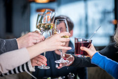 Grope of people Clink glasses. Merry company celebrates victory. Grope of people Clink glasses Stock Photography
