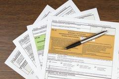 GROPförklaring - polskt skattdokument Arkivbild