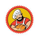 Gros Baker barbu mignon avec un rouleau de pain frais Boulangerie de vecteur Illustration de Vecteur