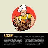 Gros Baker mignon avec un panier de pain frais Logo de boulangerie de vecteur Illustration Libre de Droits