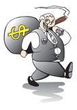 Gros banquier marchant loin avec l'amélioration énorme illustration de vecteur