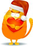 Gros chat avec le coeur et chapeau de Santa d'isolement sur le blanc Photos libres de droits