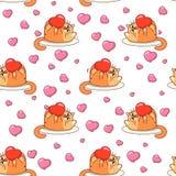 Gros chat jouant avec le modèle sans couture de coeur Conception de vecteur de jour du ` s de Valentine illustration libre de droits