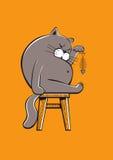 Gros chat mangeant un poisson Illustration Libre de Droits