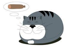 Gros chat rêvant de la saucisse Photographie stock