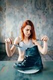 Gros concept brûlant, perte de poids, anorexie photographie stock